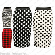 Womens Monochrome Aztec, Polka Dot, Tartan Ladies Bodycon Pencil Skirt Plus 8-22