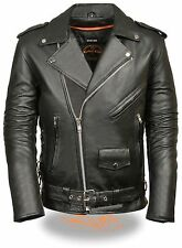 Mens Black Leather Side Lace Police Style Motorcycle Jacket w Half Belt, Zip Out