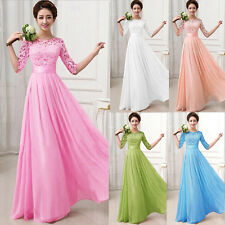Cheap Price!!6 Color Evening Wedding Bridesmaid Party Prom Long LACE Beach Dress