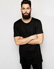 Elongated Men's Black T-Shirt Oversize Long Extended Kanye West Layer Tee Top