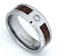Men's Diamond Tungsten wedding band Ring 8mm Wood Inlay 0.05 Ct 2 years Warranty