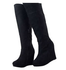WOMEN SHOES CHIC BLACK SUEDE PLATFORM WEDGE HEEL KNEE HIGH LONG BOOTS