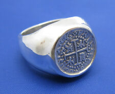 Sterling Silver High Polish Bezel Set Mens Atocha Replica Coin Ring All Sizes