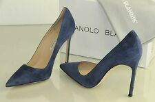 New Manolo Blahnik BB 115 Blue Grey Slate Suede Heels Pumps Shoes  41.5 11