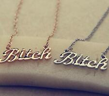 Statement Oversized Bitch Gold Chunky Letter Chain Choker Necklace Punk Goth TIA