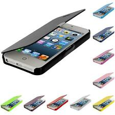 For Apple iPhone 5 5S Flip Wallet Folio Pouch Slim Hard Case Cover
