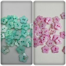 10 x 2-Hole Shell Buttons - 14mm - Flower [Various Colours Available]