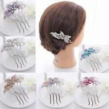 New woman's crystal lily flower bling Hair Comb Clip Prom Wedding Accessories