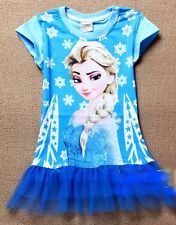 New Girls Frozen Princess Anna, Elsa T shirt, Tops, Tunic Dress 2-8yrs. Cotton