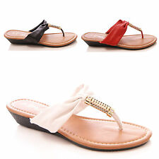LADIES WOMENS TOEPOST SANDALS LOW WEDGE CASUAL COMFORT HOLIDAY SHOES SIZE