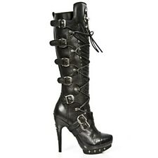 New Rock Punk Leather Heel Boots - Black - PUNK062-S1 - Gothic,Goth,Punk,NewRock