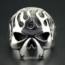 Solid 316L Stainless Steel Huge & Heavy Fire Skull Mens Biker Ring 3F002A