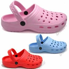 Womens Girls Rubber Plastic Beach Sandals Shoes Mules Clogs Pink Pastel Blue Red