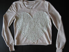 Urban Outfitters Top Sweater Lace Crochet New Size Small S Mint Heart Valentine