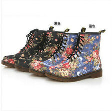 Retro Womens flowers Martin Boots lace Martin Mid-Calf Shoes Combat Ankle Boots