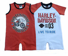 Harley Davidson Infant Baby Boys Apparel Twin Set Creepers Rompers 12, 18, 24 Mo