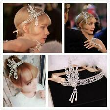 NEW 1920's Flapper Great Gatsby Daisy Style Alloy Diamante Headband Tiara Ivory