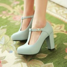 Women Fashion Mary Jane T-Strap Block High Heel Round Toe Platform Ankle Shoes