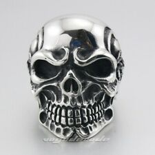 Huge Heavy 316L Stainless Steel Titan Skull Skeleton Mens Biker Ring 3A001A