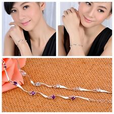 Fashion Jewelry Women Silver Plated Charm Crystal Bamboo Chain Bracelet Gift