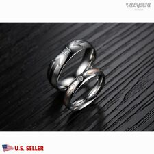 New VALYRIA Stainless Steel Silver Arrow Lover Couple Weddin Band Promise Ring