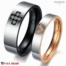VALYRIA Stainless Steel Lover Couple Band Ring Engagement Wedding Promise Band