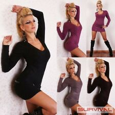 Womens V Neck Top Size 6 8 10 12 Sexy Long Sleeve Hot Knit Sweater Jumper Dress