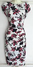 NEW Ex Wallis Ivory Pink Black Floral Print Ruched Dress 8 10 12 14 16 18