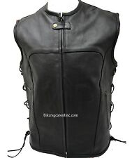 MEN'S MOTORCYCLE BIKERS UPDATED TACTICAL SWAT STYLE LEATHER VEST SIDE LACE BLACK
