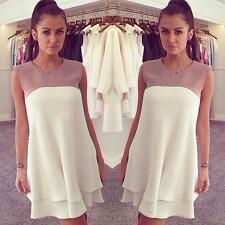 Women's Chiffon Dress Round Neck Ruffle Hem Sleeveless Loose Casual Dress White