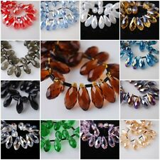 30pcs Teardrop Glass Crystal Spacer Beads Craft Jewelry Pendant 10x20mm Charms