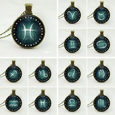 New Vintage Glass Cabochon Zodiac 12 Constellations Necklace  Pendant Signs
