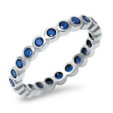 Blue Sapphire Beads CZ Ring, 925 Sterling Silver, September Birthstone, w/ Box