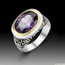 Vintage Beautiful Fashion Jewelry Amethyst 925 Silver Ring size 7 8 9