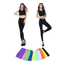 2 X Fluorescent Color Bright Skinny Shiny Stretchy Solid Leggings Pants Slim