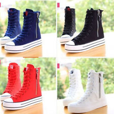High-top Student Canvas Shoes Hot Sales Women's Flats Lace Up Zip Decor Sneakers