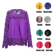 Women's Elegant Floral Lace Hollow Out Long Sleeves Tee Shirt Top Blouse