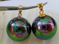 18mm TAHITIAN BLACK Sea Shell Pearl Drop PENDANT 925 Sterling or 14kt Gold 1/20
