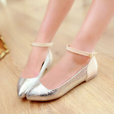 Hot Women Ladies Pointy Toe Ankle Strap Flats Casual Boat Roma Shoes Plus Sz New