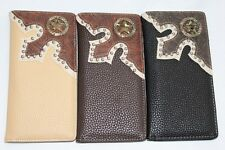 Men Women Western Rodeo Wallet faux leather Star studs Checkbook Pick Color