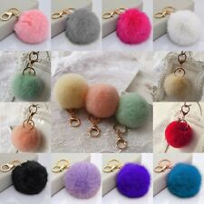 New Cute Genuine Soft Rabbit Fur Ball Handbag Key Chain Cell Phone Car Pendant