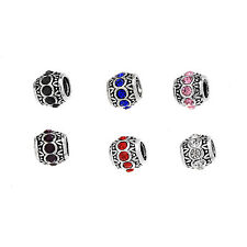 10/20/50/100pcs European Tibetan Silver Crystal Rhinestone Spacer Bead Big Hole