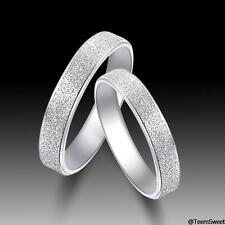 Men Women Couple Ring Frosted 925 Sterling Silver Lovers Engagement Band Promise