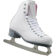Riedell Model 14 Pearl- White/Pink Girls Ice Figure Skates  with LUNA Blades