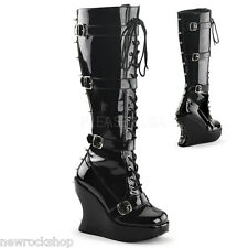 DEMONIA BRAVO-108 LADIES Goth Punk BOOTS Buckle Straps Featuring Spikes Vegan
