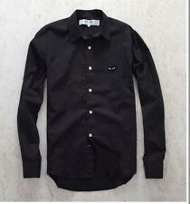 NEW 4 Sz 2016 COMME Des GARCONS CDG PLAY Men Black Shirt Black Heart Long Sleeve