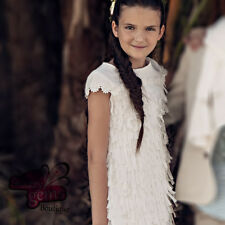 Girls Spanish Tassel Dress Sizes 2y-10y, Special Occasion, Party, Ivory