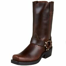 Durango Men's Tall Motorcycle Harness Boots Pull Up Rubbed Brown Leather DB514 D