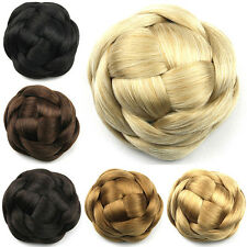 55G Women Good Synthetic Braided Clip In Hair Buns Extensions Hair Piece G660205
