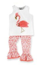 Mud Pie Flamingo Fun Tunic Top w/ Flamingo Applique & Damask Pants- Best Seller!